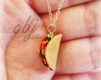 Taco Necklace, Polymer Clay Taco Necklace, Gold Filled Taco Necklace, Taco Tuesday Necklace, Taco Tuesday Jewelry, Polymer Clay Jewelry