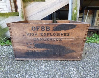 Vintage Wood Crate Dangerous High Explosives USSR ammo shipping crate box Rustic wood storage