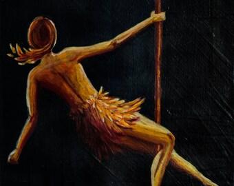 Firebird - Original Painting of a Pole Dancer