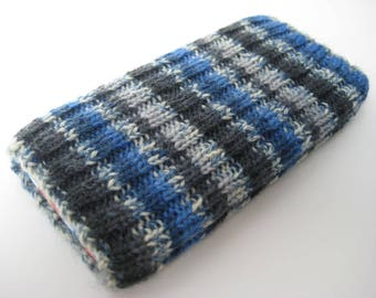 mobile phone sock - handknitted wool iPhone 5 / SE sock cosy - knitted phone cosy - phone case - blue grey black stripes - cellphone sock
