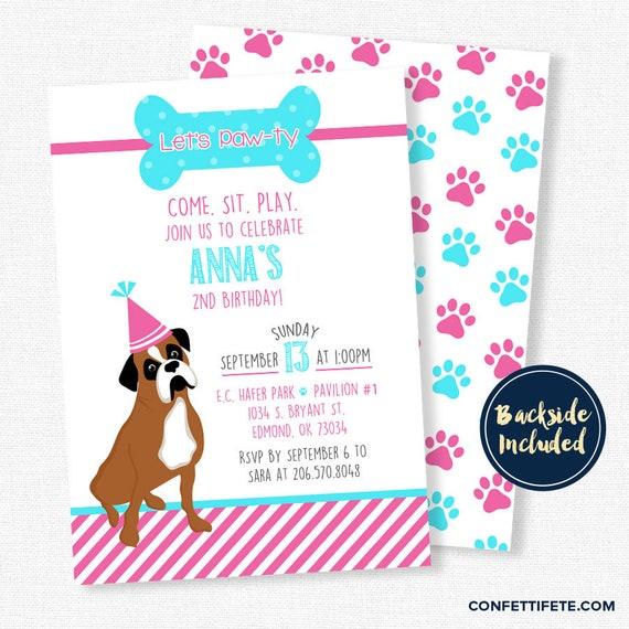 Puppy birthday invitation dog birthday invitation boxer dog il570xn filmwisefo