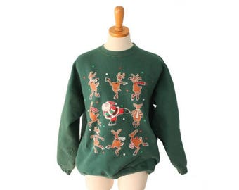50% half off sale // Vtg 90s Santa Reindeer Ice Skating Ugly Christmas Sweater // Holiday Sweatshirt // Women Men L Novelty Jumper