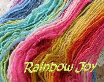 Handspun sparkling self striping rainbow wool yarn bulky slightly thick and thin hand dyed Rainbow Joy