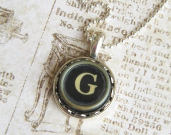 The Letter G Vintage Typewriter Key Necklace Pendant