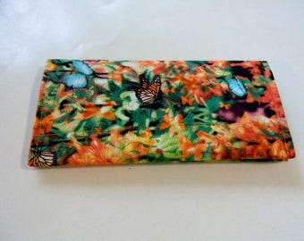 Butterfly Garden Fabric Checkbook Cover