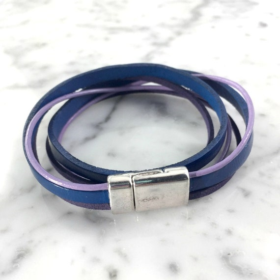 Leather, magnetic, magnet, bracelet, blue, violet, purple,  choker necklace, magnet, les perles rares
