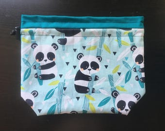 Panda Drawstring Knitting Bag