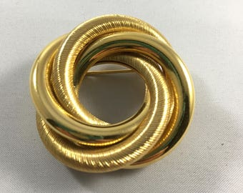Vintage Costume Jewelry Gold Twisted Brooch