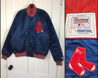 1980's Boston Red Sox baseball team Diamond Collection Starter satin bomber jacket size Large old logo patch quilted lining