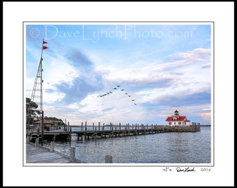 Manteo NC North Carolina - OBX - Roanoke Marshes Lighthouse - Island - Sound - Maritime Gale Warning - Home Decor - Art Prints by Dave Lynch