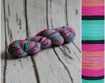 Hand dyed self-striping sock yarn 100g OOAK  colourway