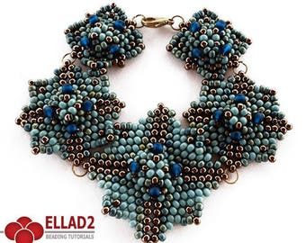 Tutorial Blue Square Bracelet - Beading pattern, beading tutorial, design by Ellad2