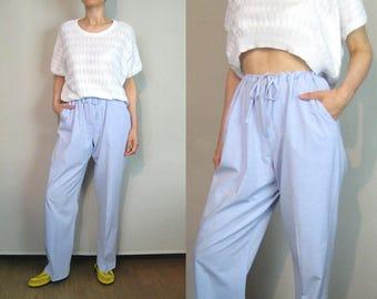 Linen Drawstring Trousers / Pure Linen Trousers / Adjustable Waist Trousers / Pale Cornflower Blue Linen Pants