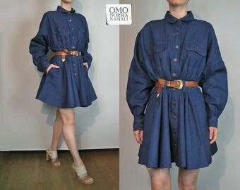 80s Deadstock OMO Norma Kamali Denim Dress / Nwt Norma Kamali Omo Dress / Designer Dress / Jean Mini Dress / Full Sleeves Dress