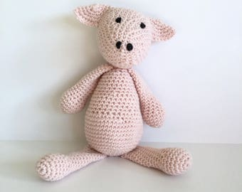 Handmade Piggy Toy in Merino Wool