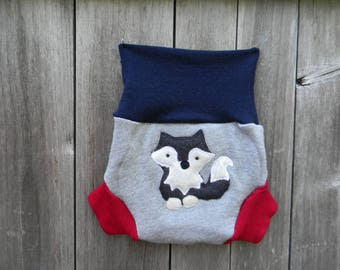 Upcycled Merino Wool Soaker Cover Diaper Cover Shorties With Added Gray/ navy Blue/ Red With Wolf Applique MEDIUM 6-12M Kidsgogreen
