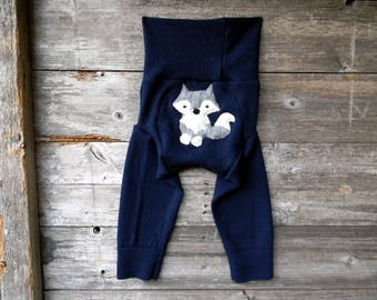 LARGE  Upcycled  Merino Wool Longies Soaker Cover Diaper Cover With Added Doubler Navy Blue  With Wolf Applique  12-24M