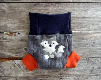 Upcycled Merino Wool Soaker Cover Diaper Cover Shorties With Added Gray/ Navy Blue/ Black/ Orange With Wolf Applique MEDIUM 6-12M