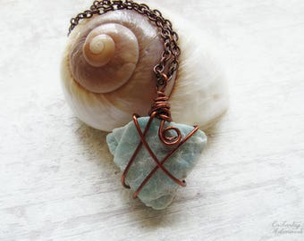 """Sea Priestess .:. OOAK Amazonite Gemstone wire wrapped pendant necklace -- with vintage copper,  extra long 26"""" chain, boho chic, bohemian"""