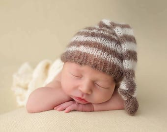 Toffee Brown and Cream Newborn Mohair Pixie Baby Knot Hat Photography Prop