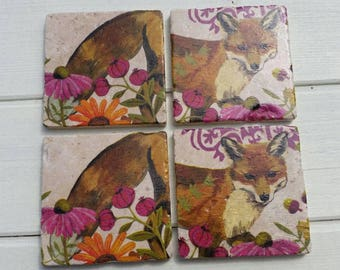 The Tail of Mr Fox Stone Coaster Set of 4 Tea Coffee Beer Coasters
