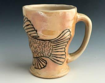 Fish Mug, Wood Fired Crappie Fishing Mug, Hand Carved with Slip Inlay, Fishing Gifts, Lake House Decor, Wheel Thrown Coffee Mug, Speck.
