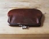 Vintage Coach Double Kisslock Coin Purse - Small Saddle Brown Leather Clutch Wallet - Distressed Leather Coin Purse