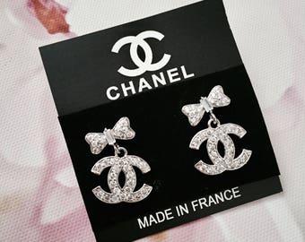Inspired Chanel Bow Earrings / Cubic Zirconia