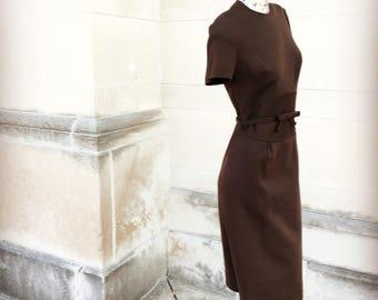Vintage 60s Chocloate Brown Wool Wiggle Dress   medium large