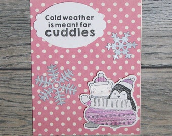 Winter is for Cuddles Pink handcrafted card-CB123117-4