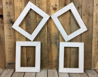 ON SALE -  White Picture Frame Set of 4, Rustic Hand Painted Set, 4- 5x7 Distressed Photo Frame, Gallery Wall Frame Set, Lot 37