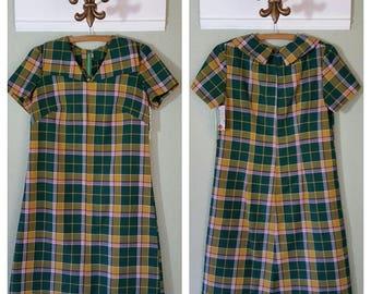 """Vintage 1960's Cotton Plaid Day Dress, 36"""" Bust, #63266"""