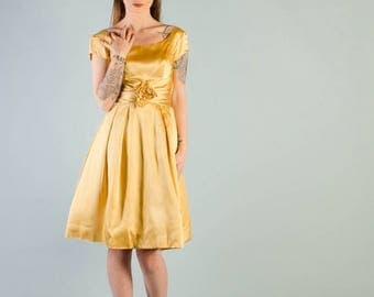 40% OFF SALE - Vintage 1960's Marigold Yellow Satin Party Dress