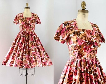 40% OFF SALE - Vintage 1950's Rose Print Dress