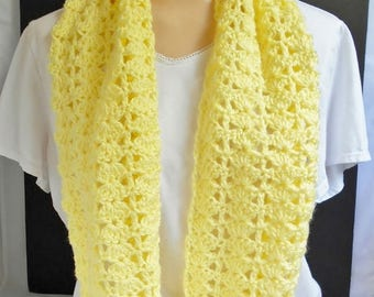 SALE Yellow Scarf, Handmade Long Lacey Crochet Scarf Knit Wrap Shoulder Neck Warmer, Gift Idea for Women