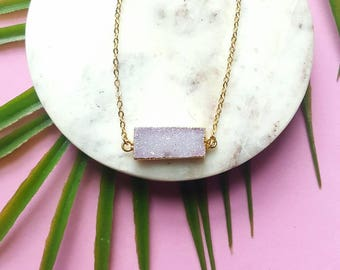 Geometric druzy necklace-crystal bar necklace-connector pendant necklace -24k gold dipped druzy-soft pink druzy