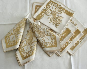 8 Antique Large Fancy Gold Damask Napkins