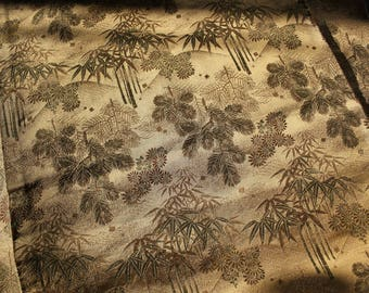 Antique Gold Metallic Silk Brocade Japanese Double Sided Maru Obi