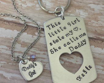 This Little Girl Stole My Heart She Calls Me Daddy / Father and Daughter Gift Set w/ Key Chain Dog Tag & Birthstone Small Heart Pendant