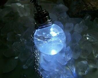 White LED Light Up Quartz Crystal Ball Jewelry Pendant
