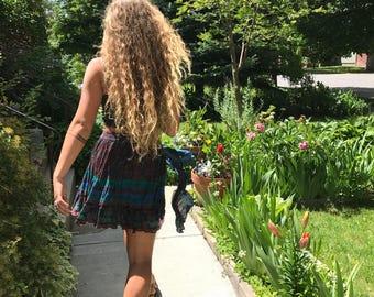 Eco Mini SKIRT, Size S, boho clothing, hippie clothing,festival skirt,  India gauze skirt, folk skirt, floral mini skirt,  Zasra