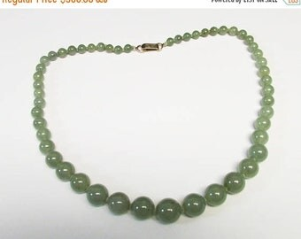 """On Sale Vintage Estate Mings of Honolulu 14K Graduated Hand Knotted 18."""" Inch Translucent Green Jade Bead Necklace"""