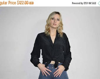 On SALE 45% Off - Minimalist Silk Black Button Up 90s Vintage Christian Dior Designer Black Blouse - 1990s Dior Tops - WV0165