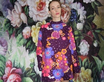 On SALE 35% Off - 1960s Vintage Short Psychedelic Rainbow Floral Tunic Shirt Festival Dress - 60s Clothing - WV0420
