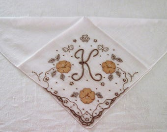 "Vintage Cotton/Linen Hanky With ""K"" Monogram In Browns Surrounded By Tan Applique and Embroidered Florals Circa 1960's"