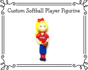 Custom Cold Porcelain Clay Softball Batter or Pitcher Figurine, Ornament, Pendant, Bow Center, Brooch, Magnet, Purse Charm, Necklace, Gift