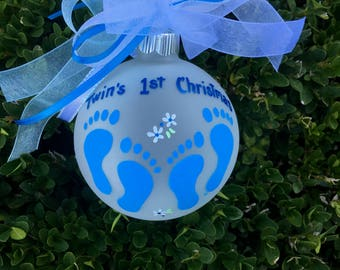Twins First Christmas Ornament - Blue Baby Feet - Personalized Handpainted Glass Ball, Twins Gender, Twin Boys Baby Gift