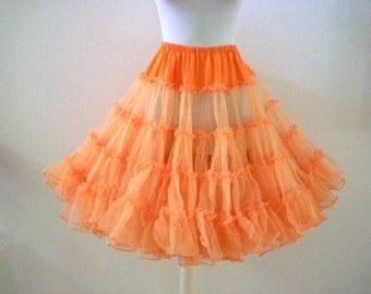 Vintage RUTHAD Tangerine Crinoline - 60s 70s Orange Rockabilly Petticoat - Super Full Crinoline - Size Medium to Large estimated