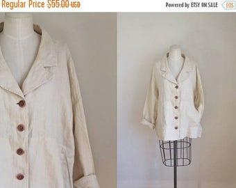 AWAY SALE 20% off vintage 1990s flax linen jacket - IRISH Cream white linen blazer / M-L-Xl
