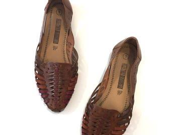 vintage leather shoes-  OAK brown huarache sandals / sz 9